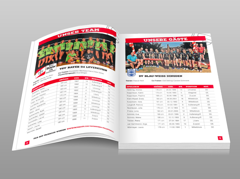 TSV Bayer 04 Leverkusen Volleyball Bundesliga Spieltagsnews | Layout Grafikdesign Projekt | Magazin Heft Katalog | Passion Marketing GmbH Werbeagentur Köln