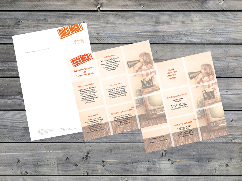 Buch Mich Köln Flyer Briefpapier Geschäftsausstattung | Grafikdesign Layout Corporate Design Projekt | Passion Marketing GmbH Werbeagentur Köln