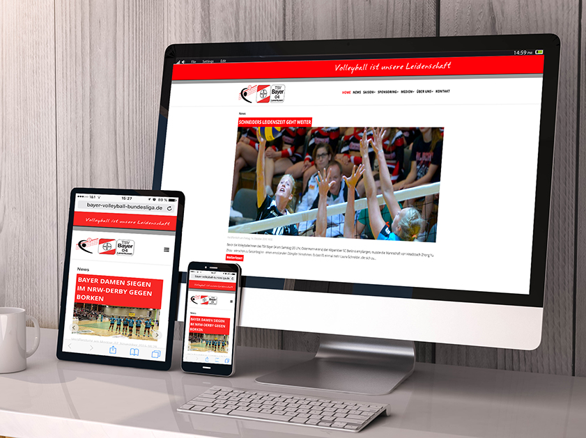 TSV Bayer 04 Leverkusen Volleyball Bundesliga Webseite | Responsive Webdesign Projekt | Passion Marketing GmbH Werbeagentur Köln