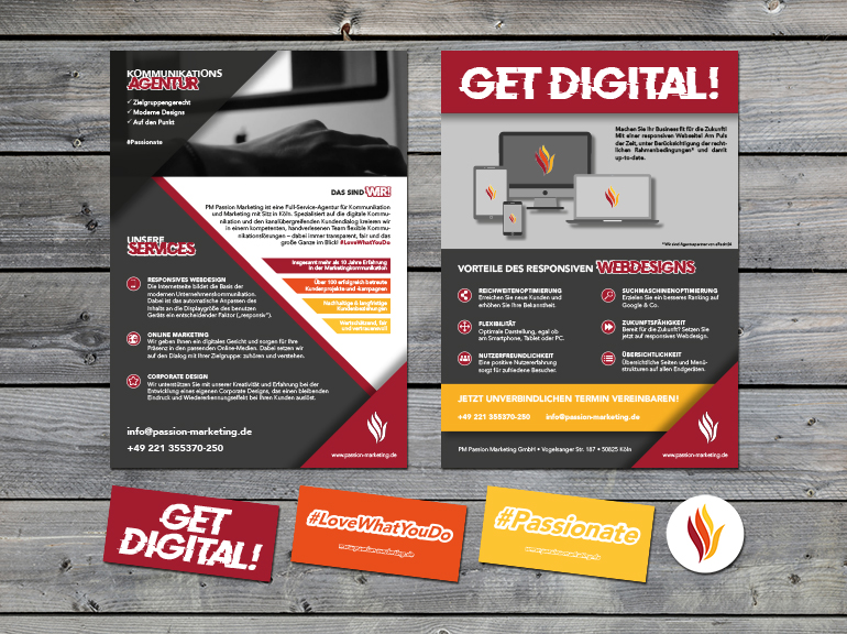 Get Digital Akquise Kampagne Direktmarketing | Flyer Sticker Layout Grafikdesign Projekt | Passion Marketing GmbH Werbeagentur Köln