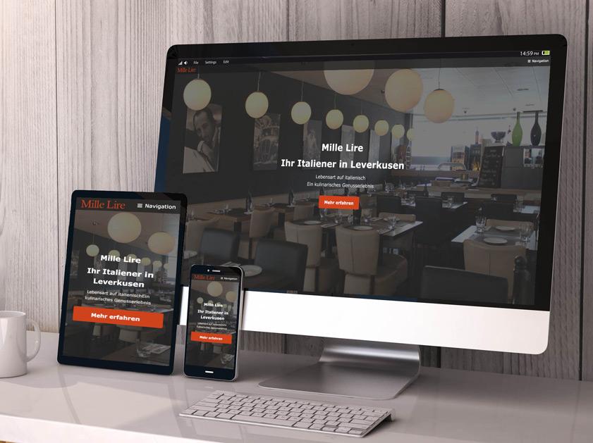 Restaurant Mille Lire Leverkusen Webseite | Responsive Webdesign Relaunch Projekt | Passion Marketing GmbH Werbeagentur Köln