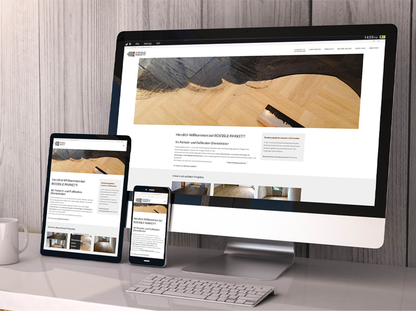 ROESSLE PARKETT Rösrath Webseite | Responsive Webdesign Projekt | Passion Marketing GmbH Werbeagentur Köln